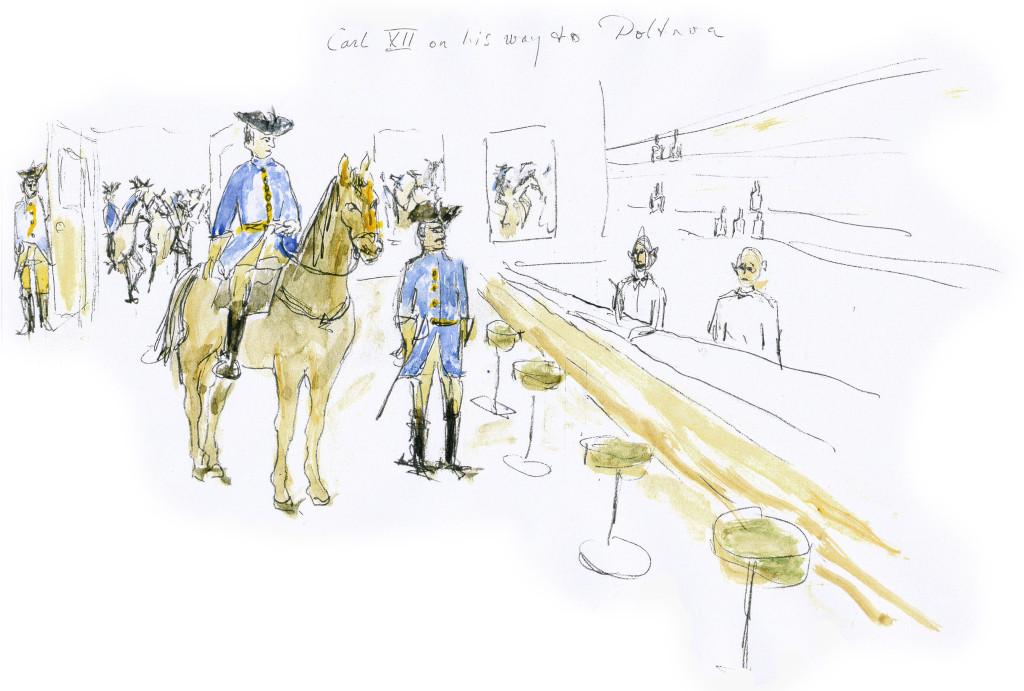 """Roy Andersson skicce. """"XII. Károly útközben Poltava felé"""""""