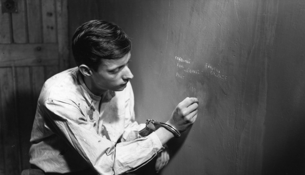 François Leterrier in Robert Bresson's A MAN ESCAPED (1956). Courtesy of Film Forum/Janus Films. Playing 1/20-1/26